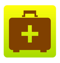 Medical first aid box sign  brown icon at vector