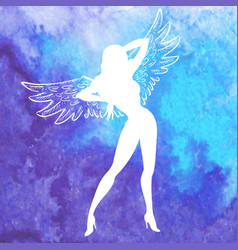 Silhouette of sexy woman with wings vector