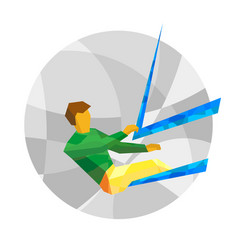 Sailing sportsman on gray background vector