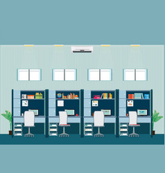 Modern office interior with office desk vector