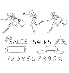 Set sales and shopping vector