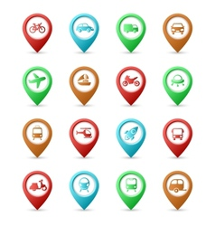 Map pins with transport icons vector