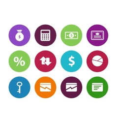 Economy circle icons on white background vector image