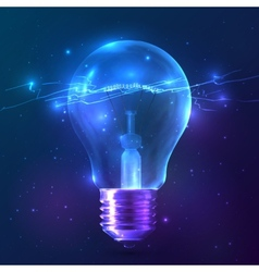 Blue shining bulb with lightning inside vector image