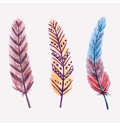 Set of watercolor feathers vector