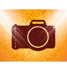 Photo camera flat modern web button and space for vector