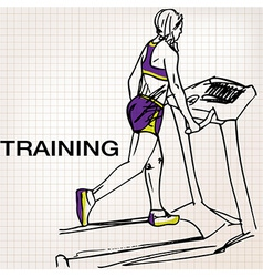Athletic woman on gym class walk treadmill runni vector