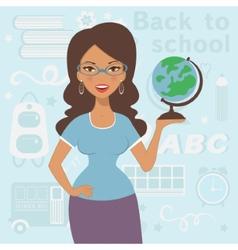 Beautiful teacher at school vector image