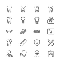 Dental thin icons vector image