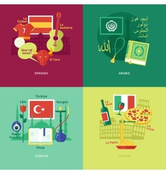 Flat design concept icons for foreign languages vector