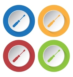 Set of four icons with screwdriver vector
