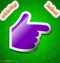 Pointing hand icon sign symbol chic colored sticky vector