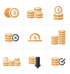 Flat icon coins icons set design blacak color vector
