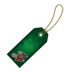 Christmas candy cane gift tag vector