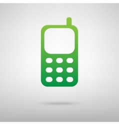 Cell phone green icon with shadow vector