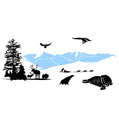 Reservation with winter animals on the snow mounta vector