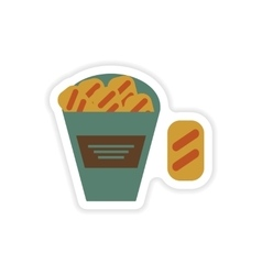 stylish paper sticker on a white background snack vector image