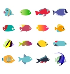 Aquarium Fishes - set of icons Isolated on vector image