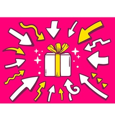 Arrows point to icon of gift box on pink vector