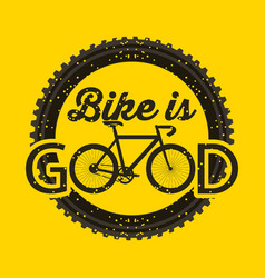 Bike is good round grunge style yellow background vector