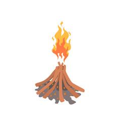 bonfire camping fire cartoon vector image vector image