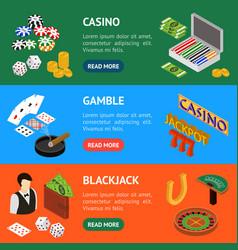 casino and gambling game banner horizontal set vector image vector image