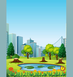 City scene with park and buildings vector