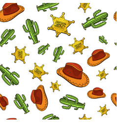 cowboy seamless pattern wild west rodeo or vector image