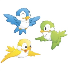 cute cartoon birds vector image vector image