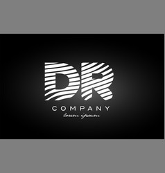 Dr d r letter alphabet logo black white icon vector