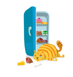 fat cat steal food from the refrigerator vector image