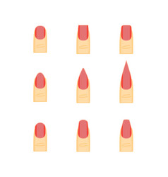 female red nails fashion shape or forms manicure vector image vector image