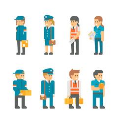 Flat design delivery messenger staffs vector