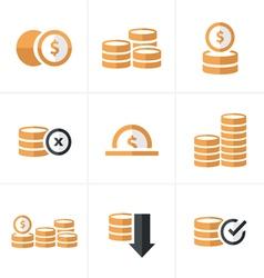 Flat icon Coins Icons Set Design blacak color vector image vector image