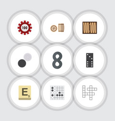 Flat icon games set of poker lottery guess and vector
