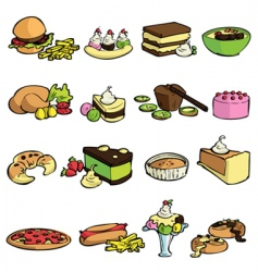 food and desserts icons vector image vector image