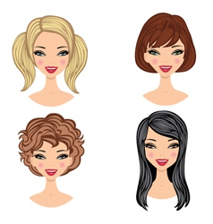 girls faces vector image vector image