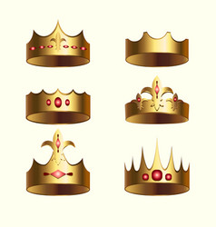 golden crown of kingdom isolated set vector image