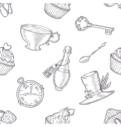 Hand drawn wonderland seamless pattern vector image