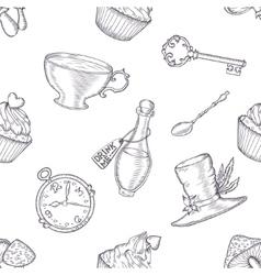 Hand drawn wonderland seamless pattern vector