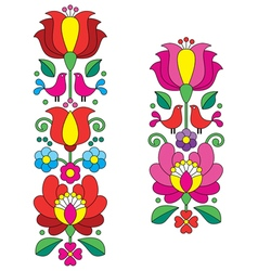 Kalocsai embroidery - hungarian floral folk art vector