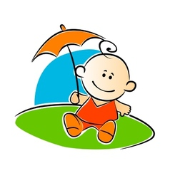 Little baby holding a sunshade or umbrella vector image vector image