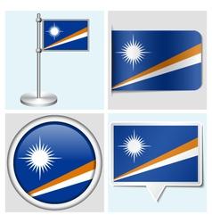 Marshall islands flag - sticker button label vector