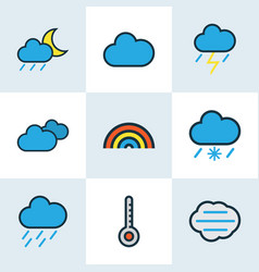 Nature colored outlines set collection of cloudy vector