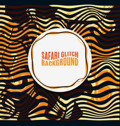 Orange striped safari glitch background vector