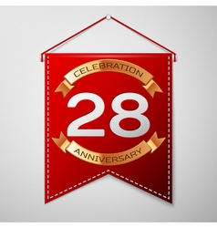 Red pennant with inscription twenty eight years vector