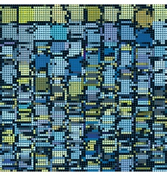 Round pixel abstract background in blue yellow vector