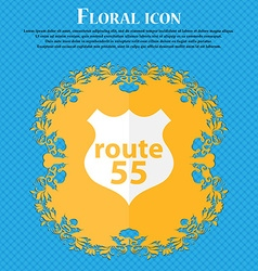 Route 55 highway icon sign floral flat design on a vector