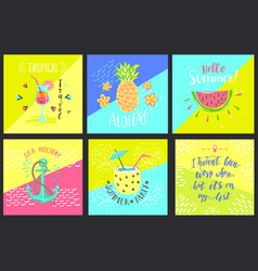 set of summer hand-lettering labels tropical vector image