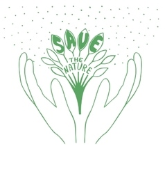 Sprout with leaves in hands with words save the vector